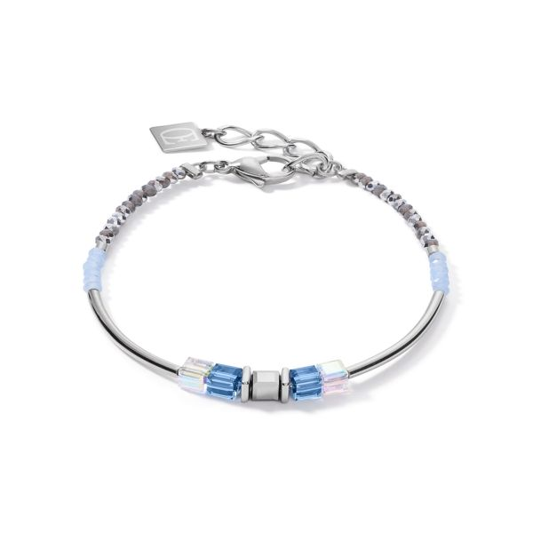 Armband GeoCUBE® frontline silber-blau
