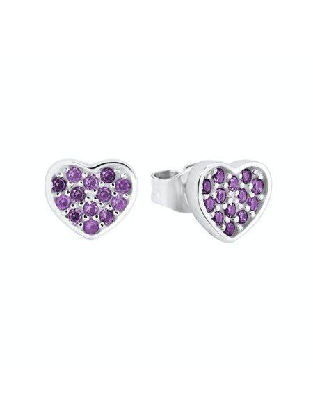 Paar Ohrstecker Herz lila