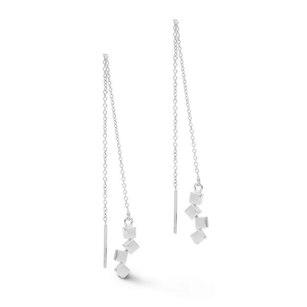 Paar Ohrhänger Dancing GeoCUBE® small Edelstahl silber