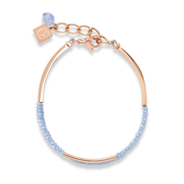Armband Edelstahl roségold & Glas hellblau