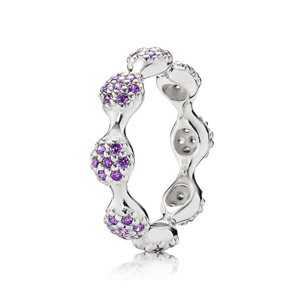 Ring 8-Elemente Pavé-Ring, lila
