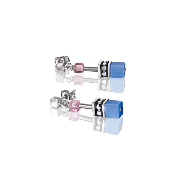 Paar Ohrhänger GeoCUBE® blau-rosa