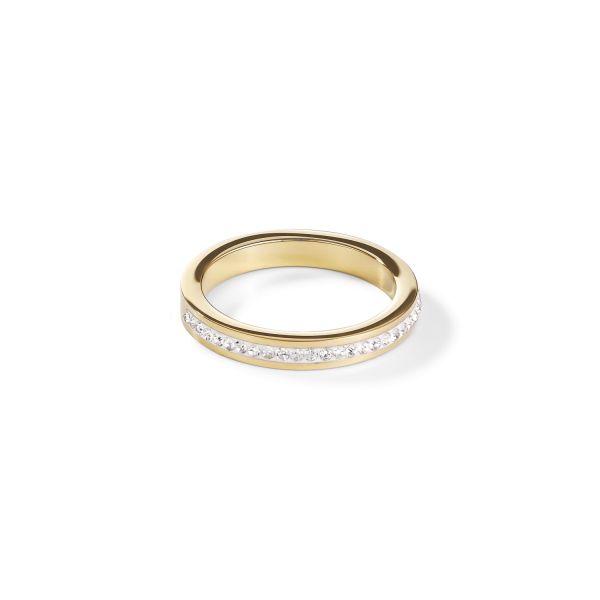 Ring Edelstahl gold & Kristalle Pavé kristall