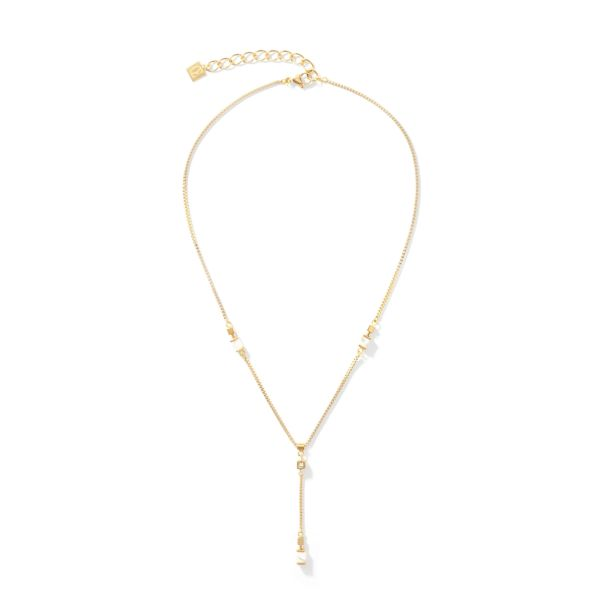 Collier Y Chain short Howlith & gold weiß
