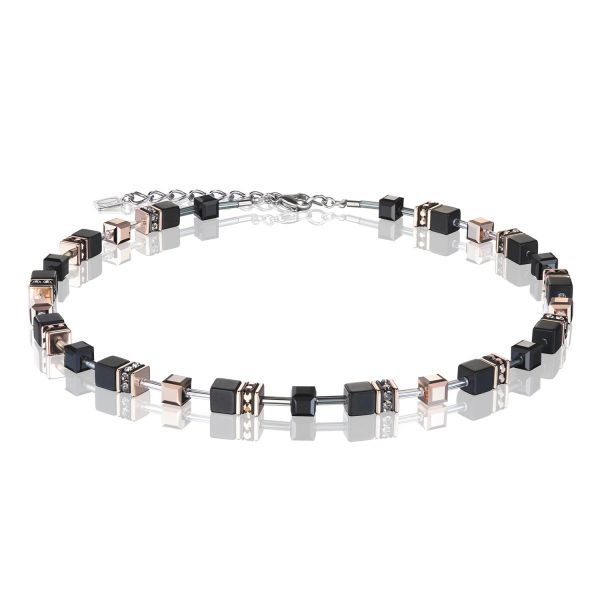Collier GeoCUBE® Onyx schwarz-roségold