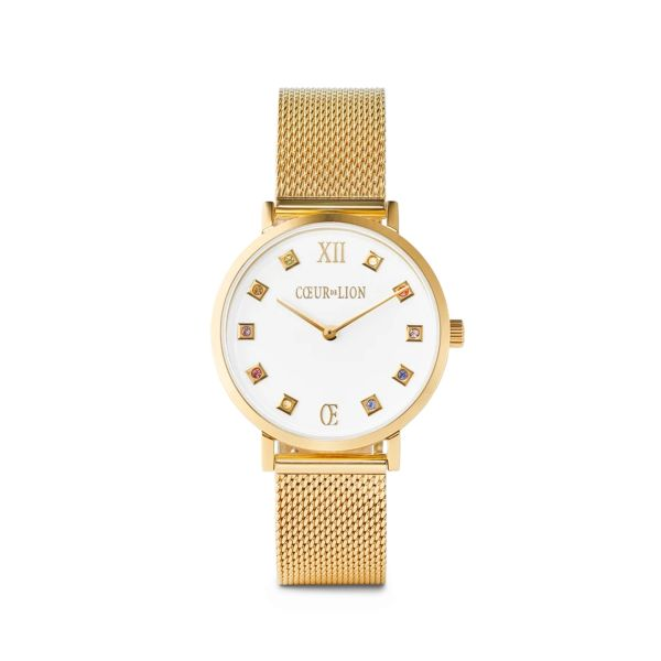 Armbanduhr Brilliant White Milanaise Edelstahl Gold
