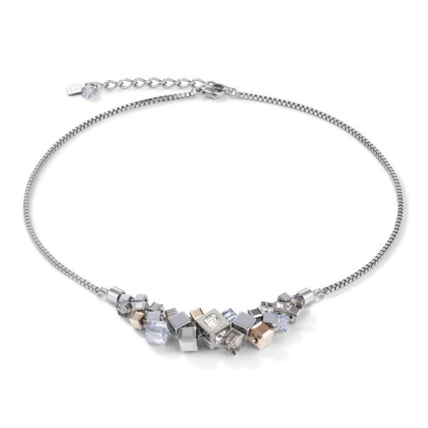 Collier GeoCUBE® Cluster silber-rosegold