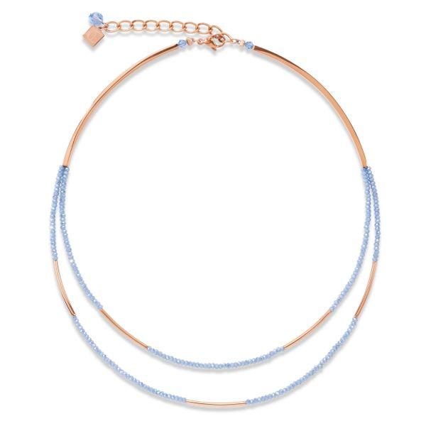 Collier Edelstahl roségold & Glas hellblau
