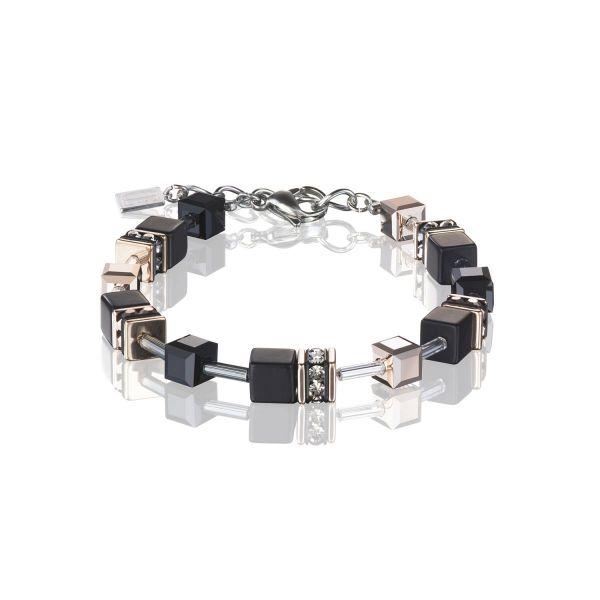 Armband GeoCUBE® Onyx schwarz-roségold
