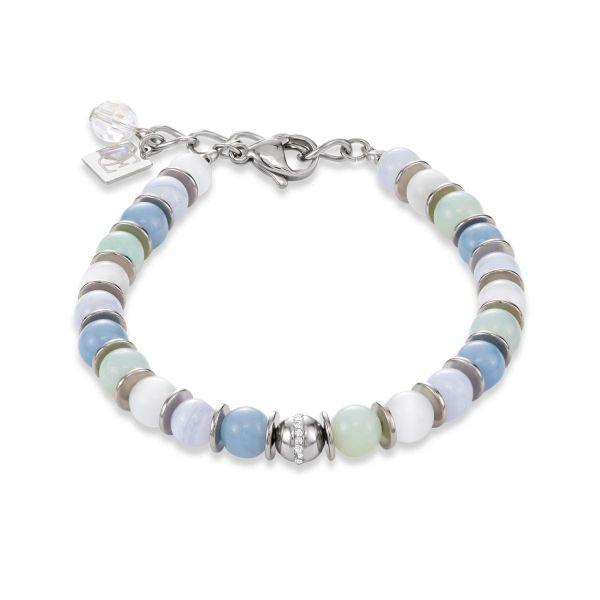 Armband Edelstahl & Pavé-Kristalle hellblau-aqua