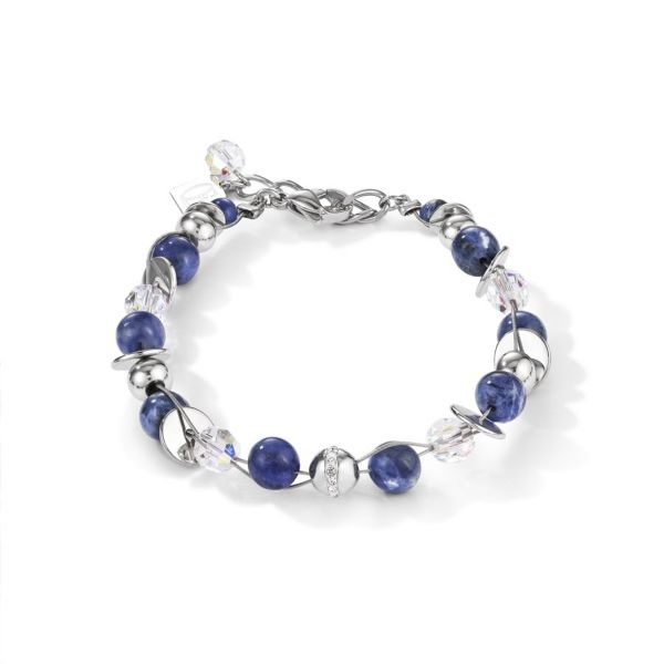Armband TwistedPEARLS Sodalith & Edelstahl blau
