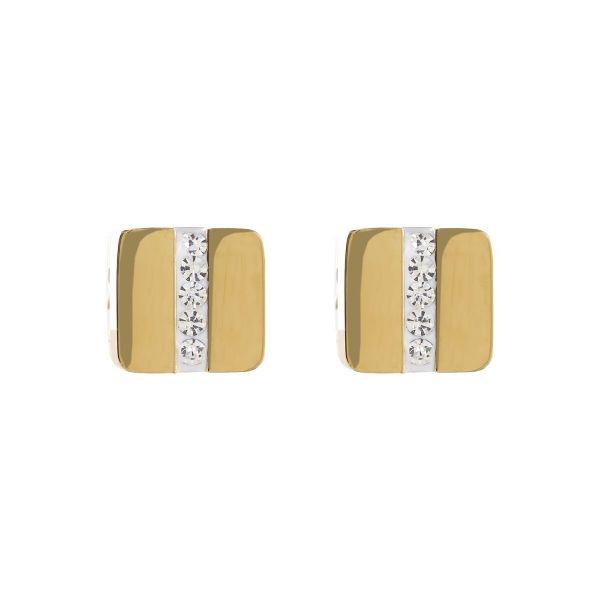 Paar Ohrstecker Quadrat gold & Kristall