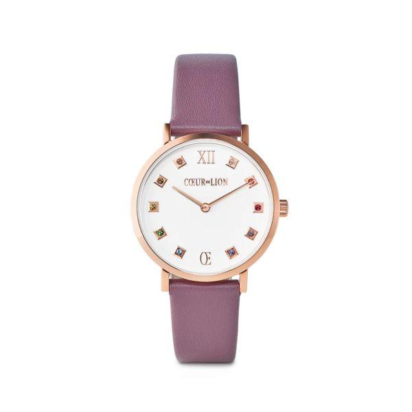 Armbanduhr Brilliant White Armband Leder Mauve