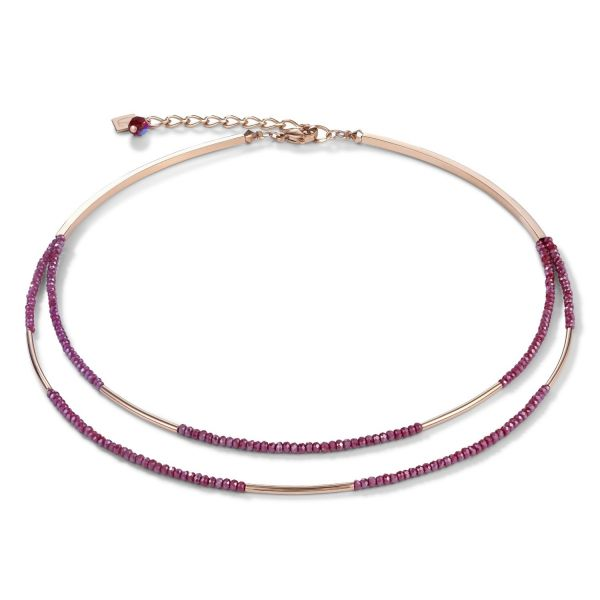 Collier Wasserfall small roségold & Glas rot