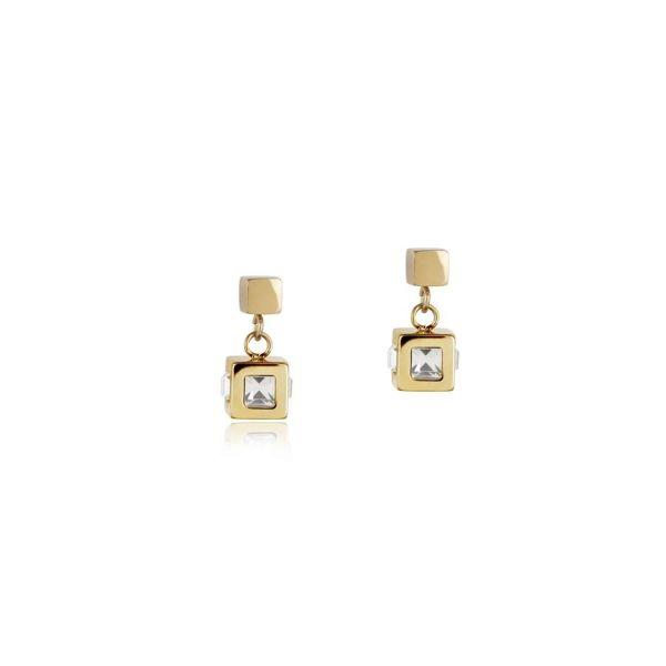 Paar Ohrstecker Cube gold & Kristall
