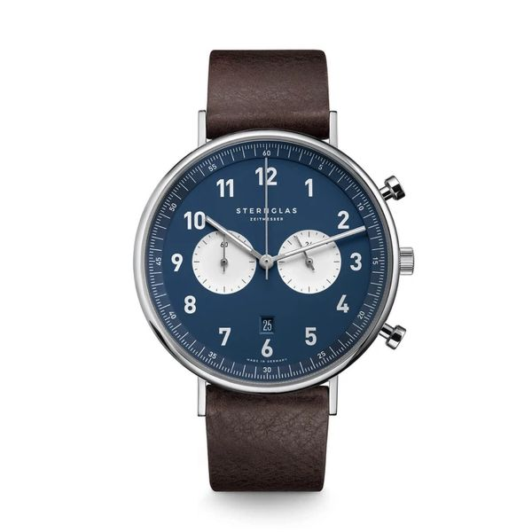 Armbanduhr Chrono nachtblau-weiß Vintage mokka