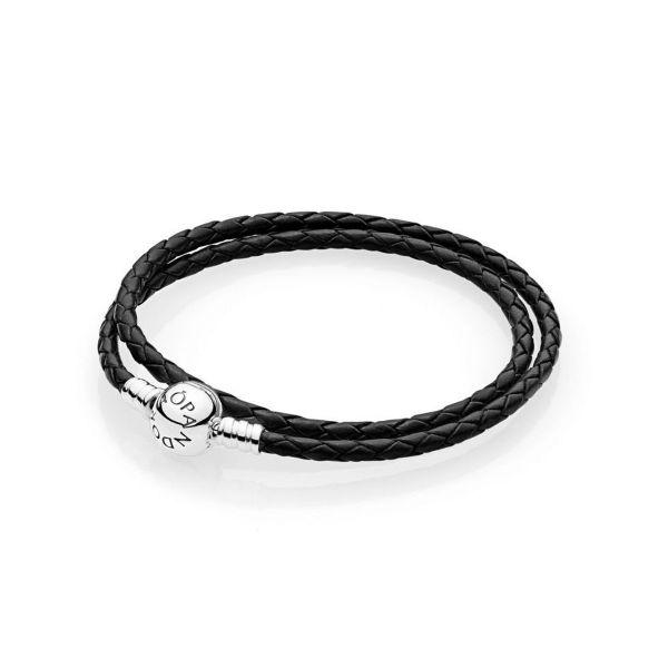 Armband schwarzes Leder, zweifach gewickelt
