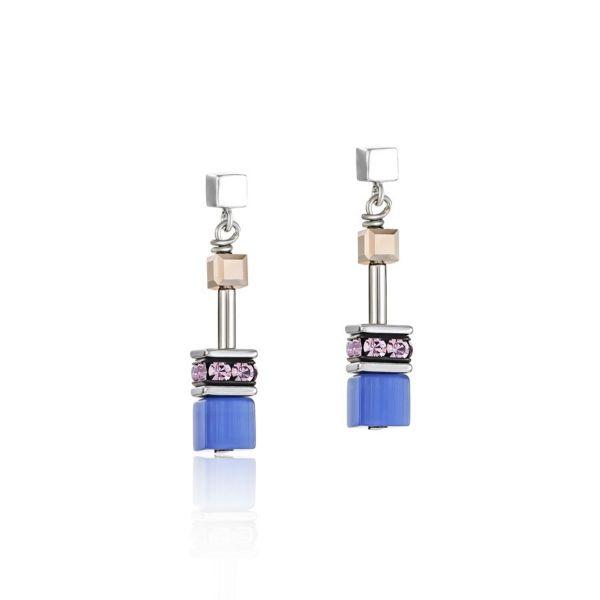 Paar Ohrstecker GeoCUBE® blau-braun-flieder