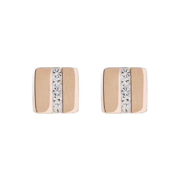 Paar Ohrstecker Quadrat roségold Kristall