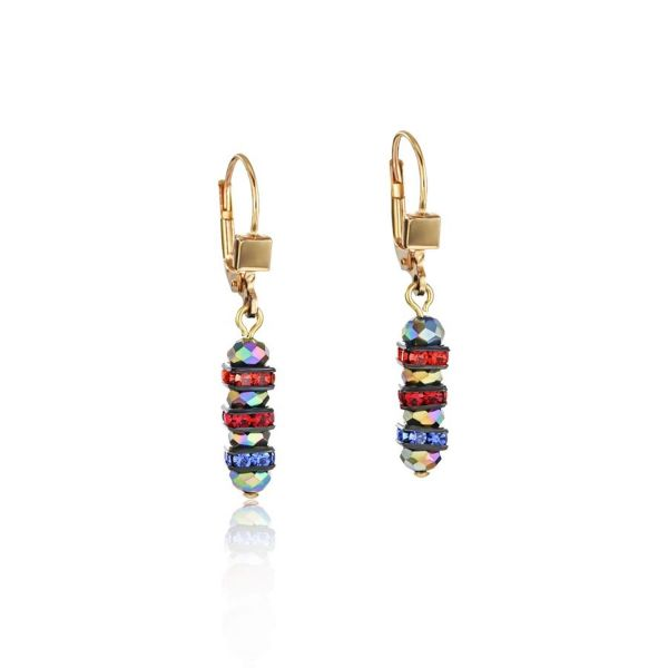 Paar Ohrhänger Frontline Strass & Glas multicolor-gold