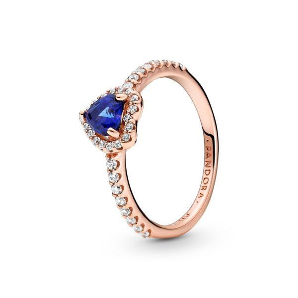 Ring Funkelndes blaues erhabenes Herz