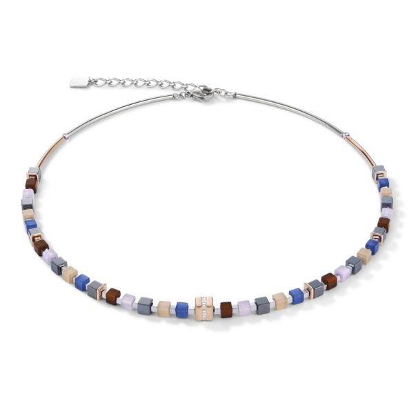 Collier GeoCUBE® roségold & Kristall blau-braun