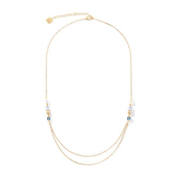Collier GeoCUBE® double chain long gold-blau